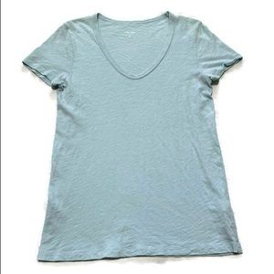 J. Crew Women's Blue V-neck Vintage Cotton T Shirt